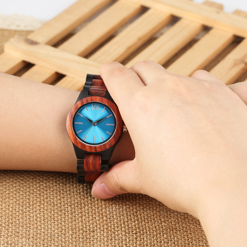 Image 5 - Unique Sapphire Blue Face Wooden Watches Handmade Full Wooden Band Quartz Watch Womens Watches Ladies Dress Clock Reloj MujerWomens Watches   -