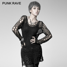 PUNK RAVE Punk Broken Pullover Striped Ladies Stylish Cape Sweater Computer Knitting Holes Thin O-Neck Long Sleeves Broken Tops
