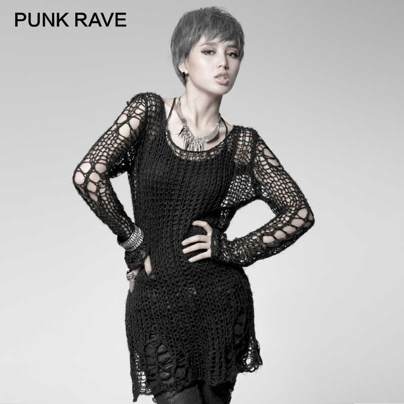 924ed02c16771 PUNK RAVE Punk Broken Pullover Striped Ladies Stylish Cape Sweater Computer  Knitting Holes Thin O-
