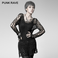 PUNK RAVE Punk Broken Pullover Striped Ladies Stylish Cape Sweater Computer Knitting Holes Thin O Neck Long Sleeves Broken Tops