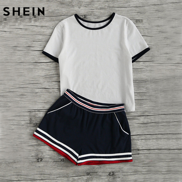 6386303e3f SHEIN Casual Women Two Piece Outfits Summer Short Sleeve Round Neck Ringer  Tee and Striped Waist Binding Shorts Set