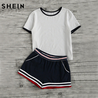 SheIn Casual Women Two Piece Outfits Summer Short Sleeve Round Neck Ringer Tee And Striped Waist