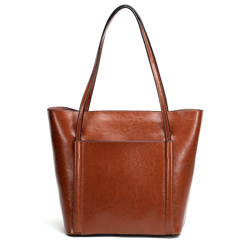 Oil Wax Leather Women Handbag 2019 Brand Designer Female Leather Tote Bag Solid Casual Genuine Leather Women Shoulder BagsOil Wax Leather Women Handbag 2019 Brand Designer Female Leather Tote Bag Solid Casual Genuine Leather Women Shoulder Bags