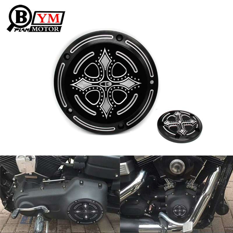 Motorcycle Parts Crow Cross Heart Engine Derby Timing Timer Cover CNC Beveled For Harley Road King Softail Dyna FLHRS FLTFB cnc engine cover cross derby