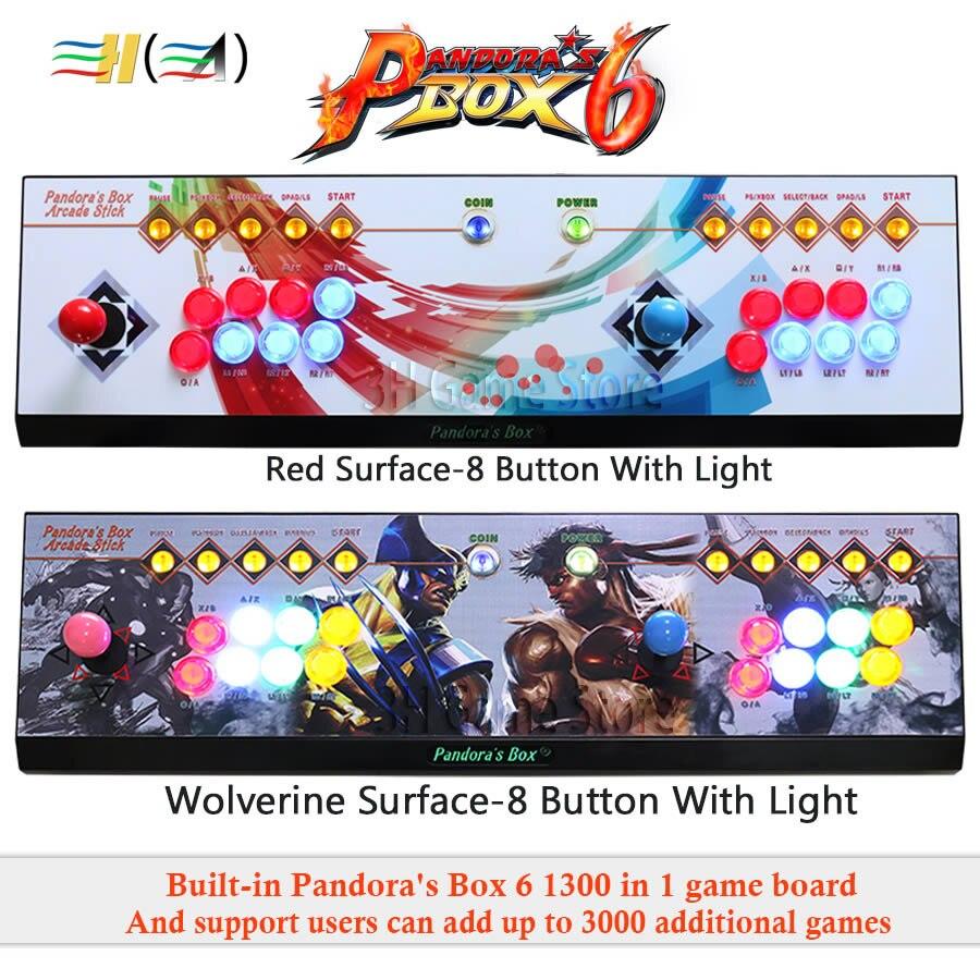 Pandora Boîte 6 1300 dans 1 8 bouton arcade console kit arcade 2 joueurs joystick led bouton peut ajouter 3000 jeux usb joystick pour pc