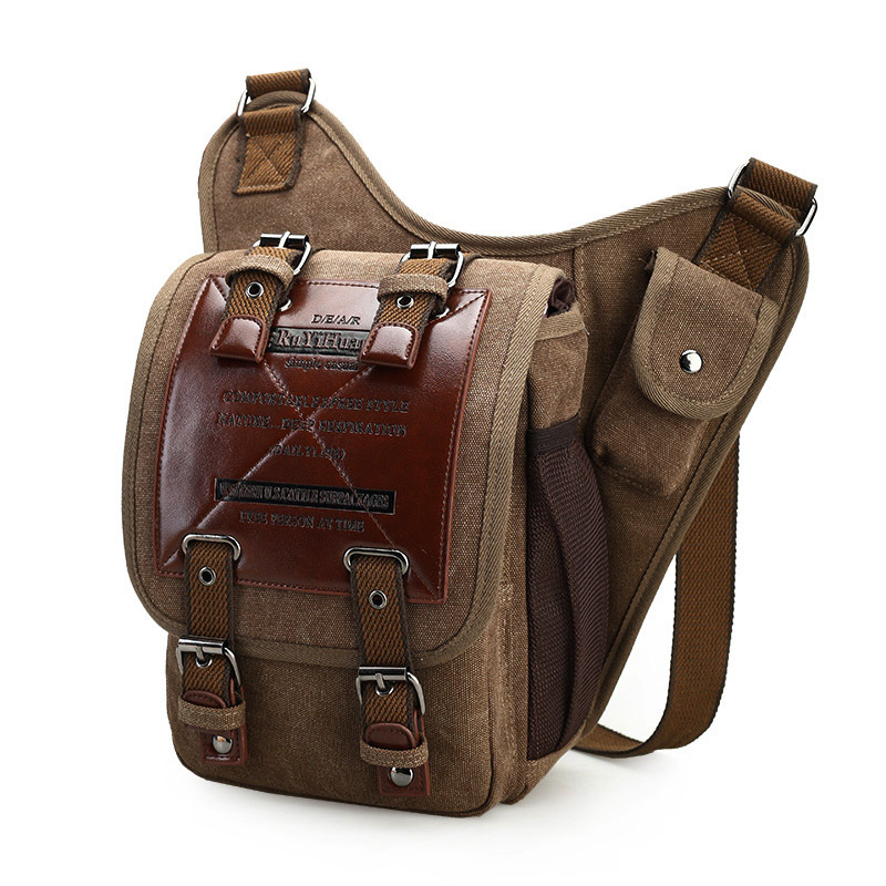 BERAGHINI Messenger-Bag Decoration Military-Saddle-Bag Canvas Small-Sling Over-The-Shoulder-Bags title=