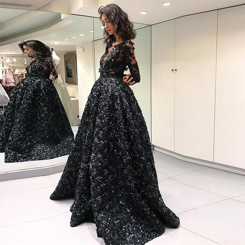 Vestidos Arabic 3d Flower Evening Dress Black Long Sleeve Prom