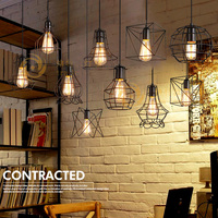 Vintage Loft Pendant Lights Industrial Hanging Suspendu Dining Room Black Small Cage Suspension Luminaire Pendant Lamp