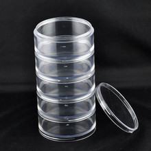 New Round Clear Acrylic Storage Box Jewelry Beads Display Carrying Case Container 70x135mm