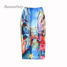 BunniesFairy 2016 Vintage Ladies Fashion Vintage Oil Painting Print High Waist Stretch Pencil Skirt Long Bodycon Saias Femininas