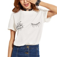 New Women Print Top Tees Eyelash T Shirt Women 2017 Harajuku White Femme T Shirt Plain