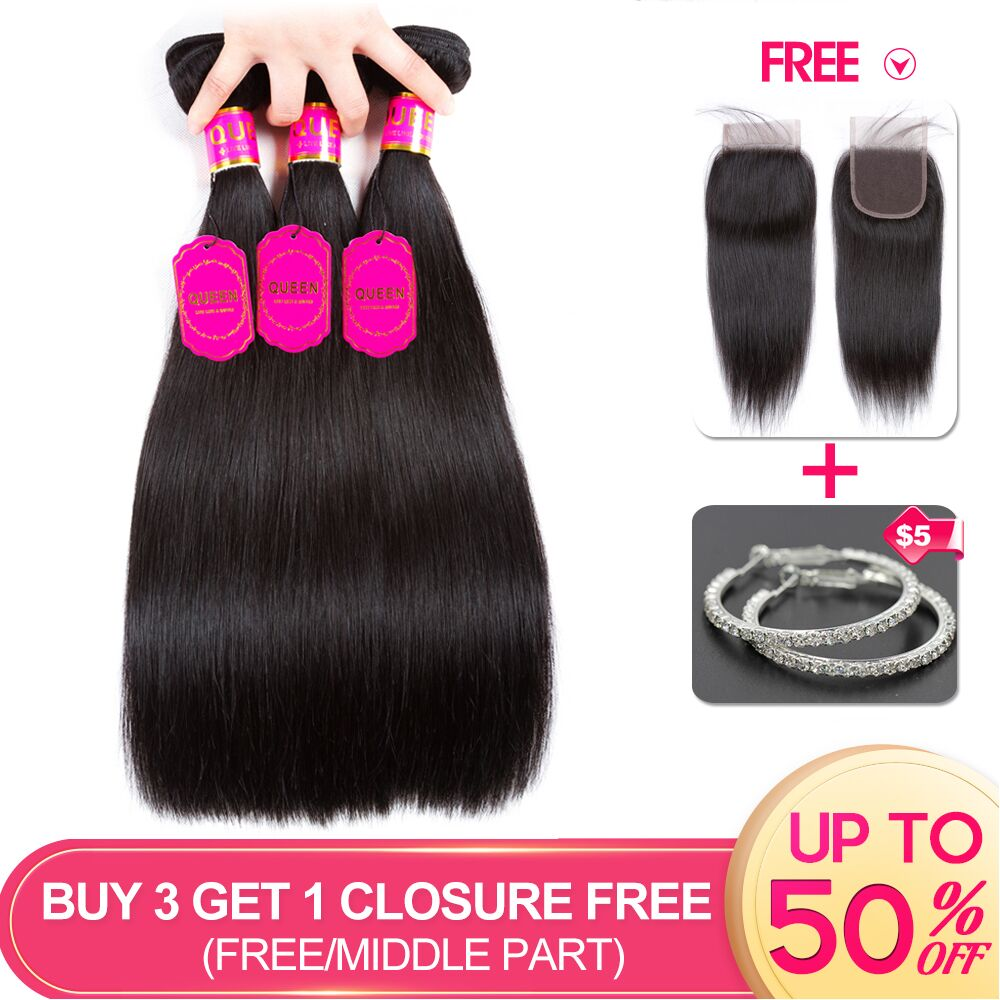 Enthusiastic Queen Hair Products Brazilian Straight Hair 3 Bundles Remy Human Hair Extensions Buy 3 Get 1 Free Closure Free/middle/three Part Fragrant Aroma Hair Extensions & Wigs