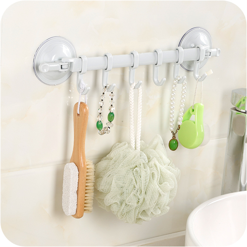 Wall Door Hook Wall Vacuum Rack Suction Cup 6 Hooks Towel Bathroom Kitchen Holder Sucker Hanger E2S