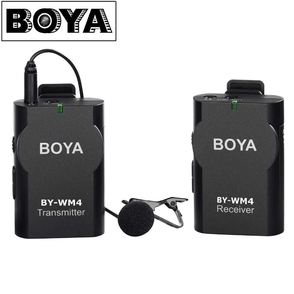 BOYA BY-WM4 Wireless Lavalier Microphone system for Canon Nikon Sony Panasonic DSLR Camera Camcorder iphone android smartphone  boya by wm5 lavalier clip on mic audio studio recorder wireless microphone microfone for canon sony gopro dslr camera camcorder