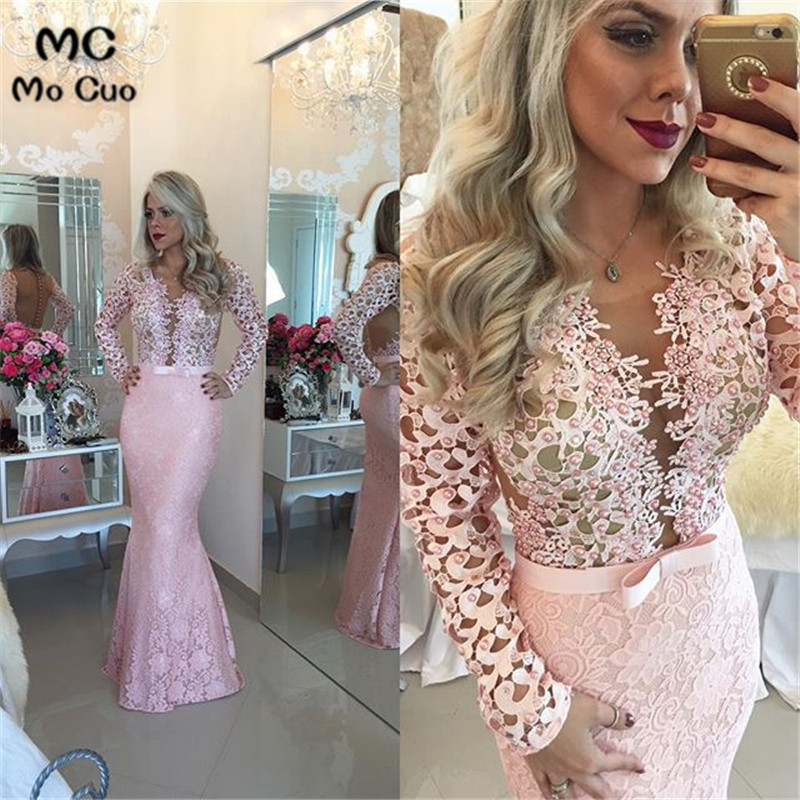 Promotion 2018 Evening dresses Robe de soiree Lace See Though Pearls Long Pregnant Party Evening dress for women