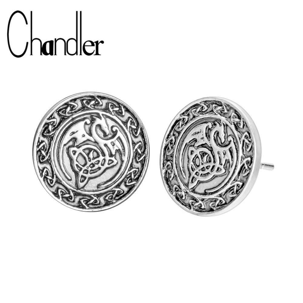 Chandler New Bronze Silver Plating Valknut Viking Slavic Talisman Dragon  Stud Earring For Mens Male Turkey India Ancient Jewelry