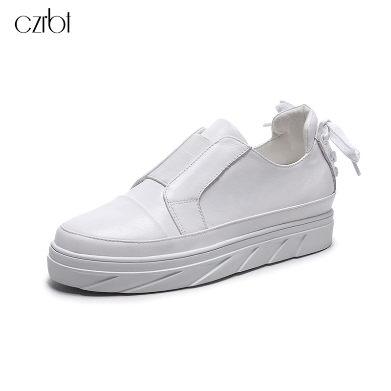 CZRBT Women Shoes Fashion Flat Shoes Genuine Leather Flat Platform Shoes Round Toe Cross-tied Comfortable Casual Shoes