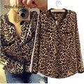 Новая Мода Женщины Сексуальное Дикого Леопарда Blusas Леди С Длинным Рукавом Печати Шифон Блузка Свободную Рубашку Плюс Размер V-образным Вырезом Блузки
