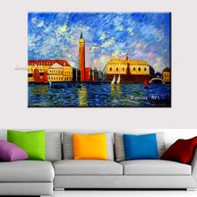 100% hand-painted landscape oil painting high quality home decor Beautiful harbour Water City Venice pictures
