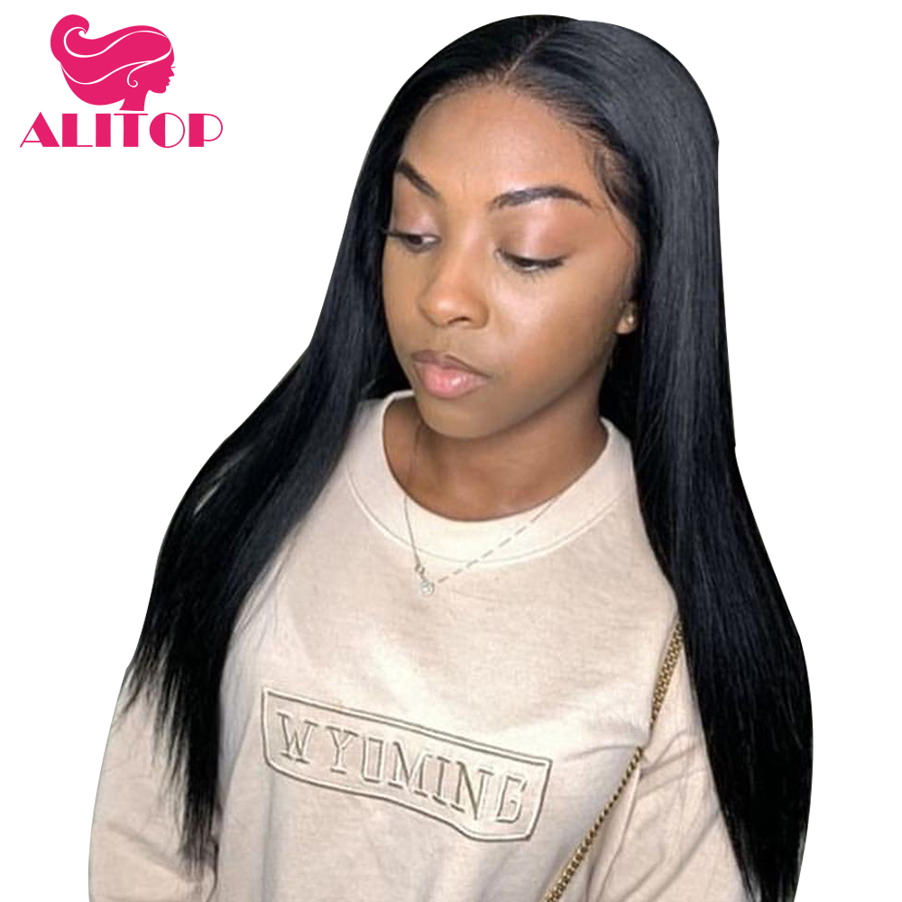 ALITOP Hair Brazilian Straight Human Hair Wigs 13x6 Glueless Free Part Lace Front Wig Pre Plucked Headline Remy Wigs For Woman