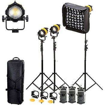 (FB800G3KIT) Portable High CRI Bi-color 80W LED Fresnel Spotlight for Camera Video Continuous Light s V mount LED FRESNEL   CD50