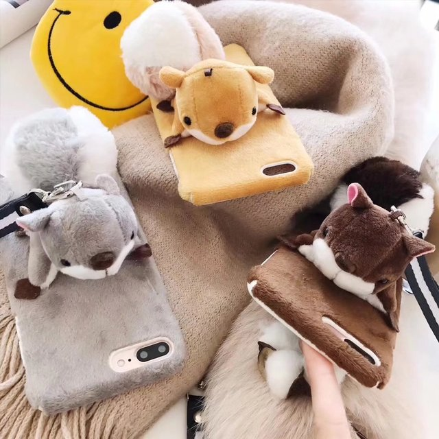 newest collection 6163c 1211d US $7.58 |Squirrel Design Plush Doll Phone Case For iPhone 6 6s plus 7 8  plus Plush Squirrel Cover Case-in Half-wrapped Case from Cellphones & ...