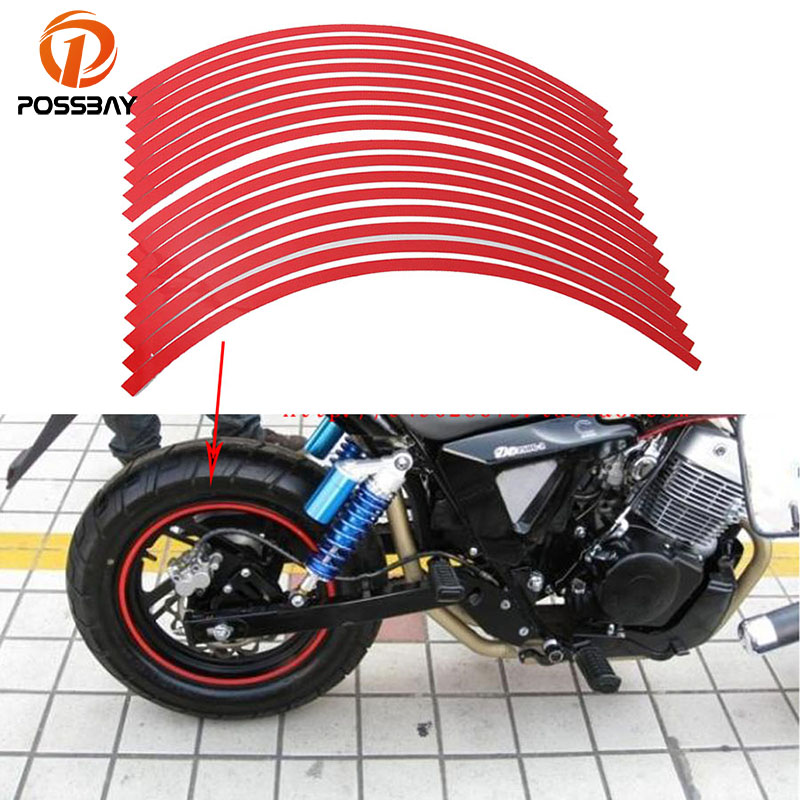 POSSBAY Universal Auto Car Motorcycle Reflective Wheel Rim Stripe Tape Scooter Pad Decoration Decal Moto Stickers Car Styling