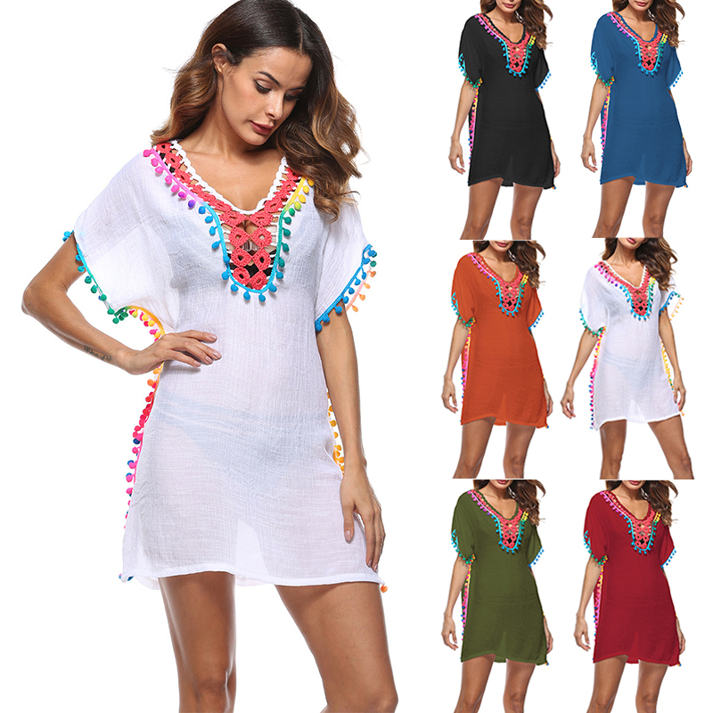 7d3193f0c4225 Buy beach tunic pom poms and get free shipping on AliExpress.com