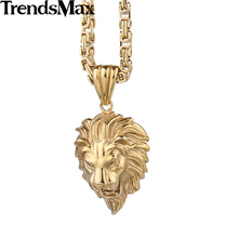 Trendsmax  Gothic Punk King Lion Pendant Mens Boys Black Silver Gold Tone 316L Stainless Steel Pendant HP143