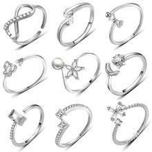 2019 New Fashion Silver Crystal Stone Rings Adjustable Unique Engagement Ring Simple Finger Bow Jewelry for Women Party Gift