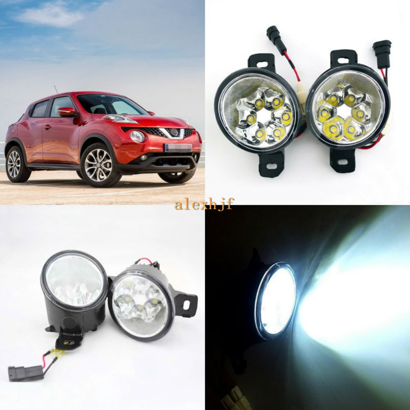 July King 18W 6LEDs H11 LED Fog Lamp Assembly Case for Nissan Juke 2015~ON,  6500K 1260LM LED Daytime Running Lights july king 18w 6leds h11 led fog lamp assembly case for nissan versa 2012 on 6500k 1260lm led daytime running lights