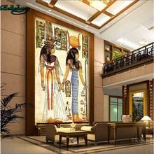 Papel pintado beibehang hecho a medida no tejido pinturas de pared faraón egipcio antiguo pintura al óleo clásica
