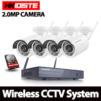 1080P Wireless CCTV System 2MP 4ch HD wi fi NVR kit Outdoor IR Night Vision IP Wifi Camera Security System Surveillance Set