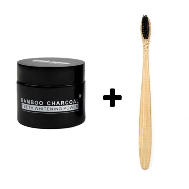 Blanqueamiento de dientes de carbón de limpieza de los dientes fuerte de diente manchas de blanqueamiento de dientes de carbón de bambú en polvo y cepillo de dientes