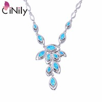 CiNily Created Blue Fire Opal Silver Plated Necklace Pendant Wholesale Fashion for Women Jewelry Necklace Pendant 16