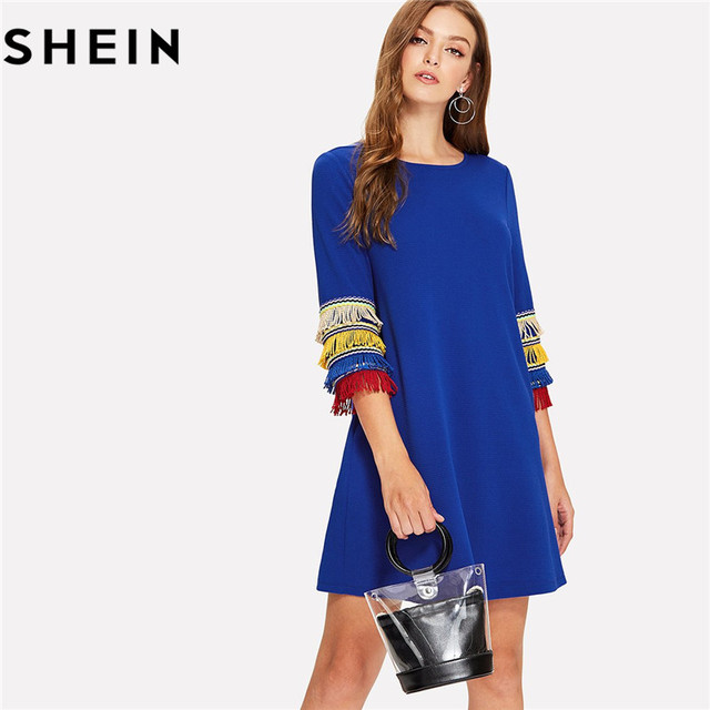 60f6e9c6d83 SHEIN Women Blue O Neck Casual Straight Mini Dresses 2018 Preppy Three  Quarter Length Sleeve Layered Fringe Embellished Dress