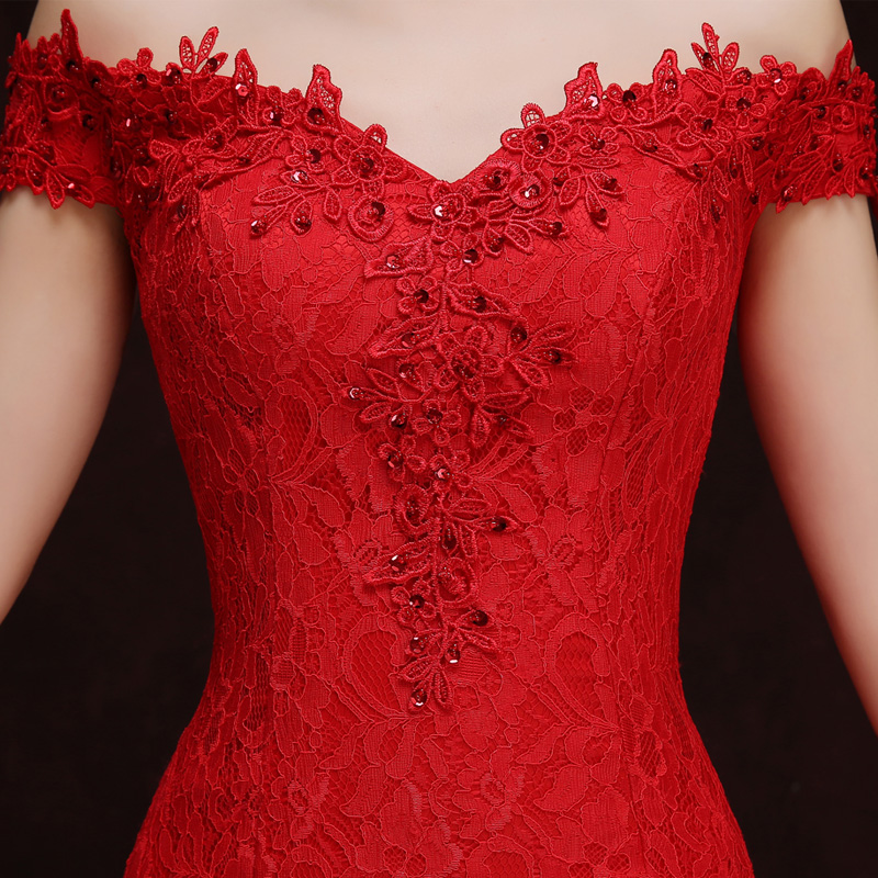 Купить с кэшбэком Sexy White and Red lace cheongsam dress Improved mermaid tailing Bride Chinese Wedding vestido Oriental Dresses Robe Qi Pao