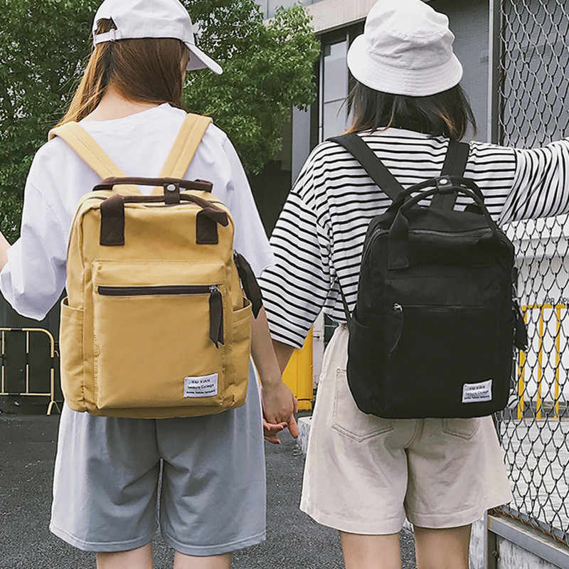 Gaya Korea Tas Ransel Kanvas untuk Wanita Sederhana Fashion Pemuda Ransel Perjalanan Liburan Sekolah Tas untuk Remaja Gadis Tas Bahu