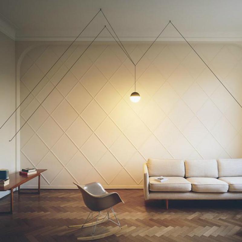 Купить с кэшбэком DIY Geometric String Lines Led Pendant Light Modern Simple Glass Ball Suspension For Foyer Dining Room Bedroom 1/2 Heads 1468