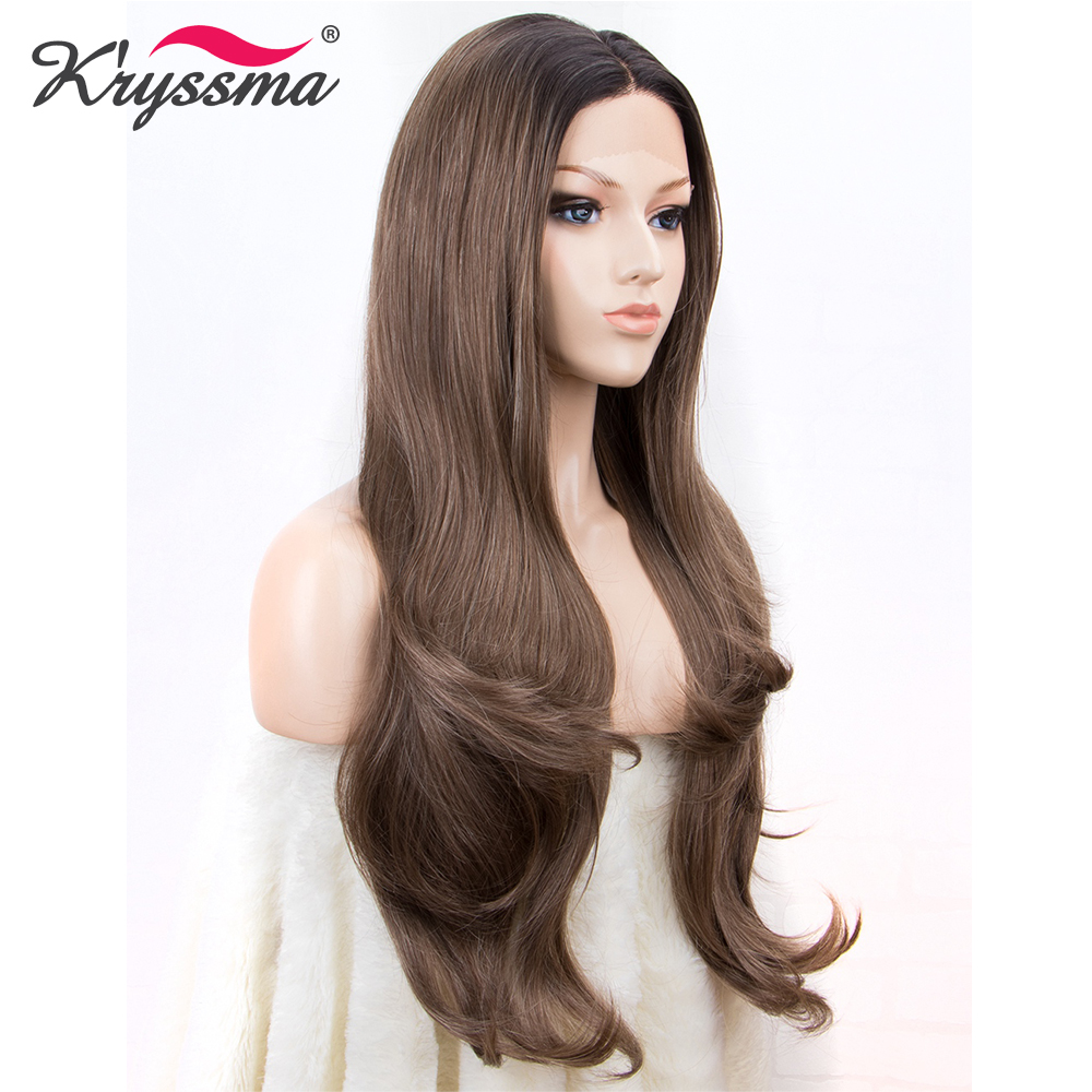 Brown Wig Synthetic Lace Front Wig Ombre Dark Roots Natural Color Wigs for Women Long Natural Wave Middle Part Hair for White