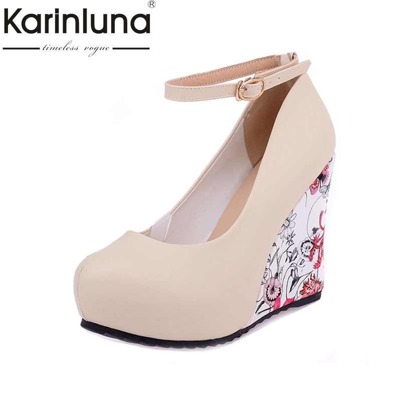 Big Size 34-43 Wedges High Heels Party Pumps Ankle Strap Bohemia Flower Printing Round Toe Platform Women Shoes Woman Wedding meotina shoes women pumps fall round toe ankle strap party platform wedges female flowers sequined pink yellow beige shoes