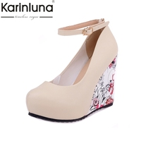 Big Size 34 43 Wedges High Heels Party Pumps Ankle Strap Bohemia Flower Printing Round Toe