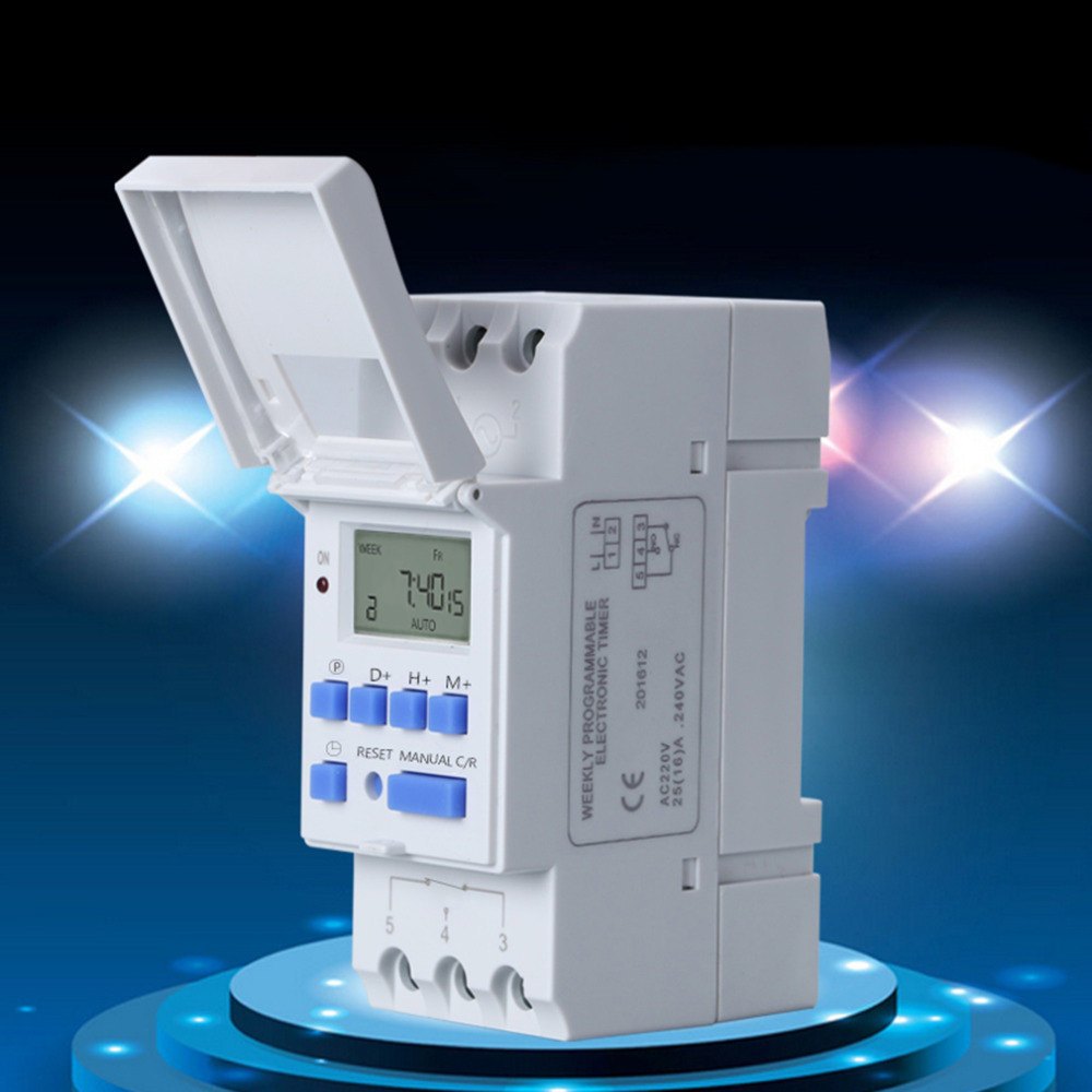 Panel Mounted Digital LCD Timer Electronic Programmable Timer Switch Lithium Battery Powered Digital Timer THC 15A AC 220V