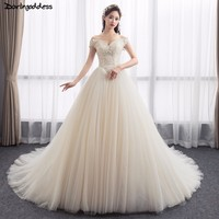 Vestido De Novia Elegant Lace Wedding Gowns 2018 Ball Gown Champagne Wedding Dress Long Train Cap
