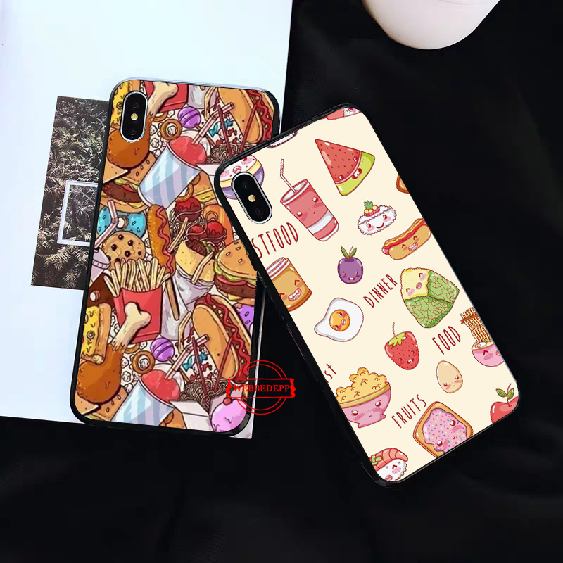 WEBBEDEPP Fast food burger fries Silicone soft Case for iPhone 5 SE 5S 6 6S Plus 7 8 X XS Max XR in Fitted Cases from Cellphones Telecommunications