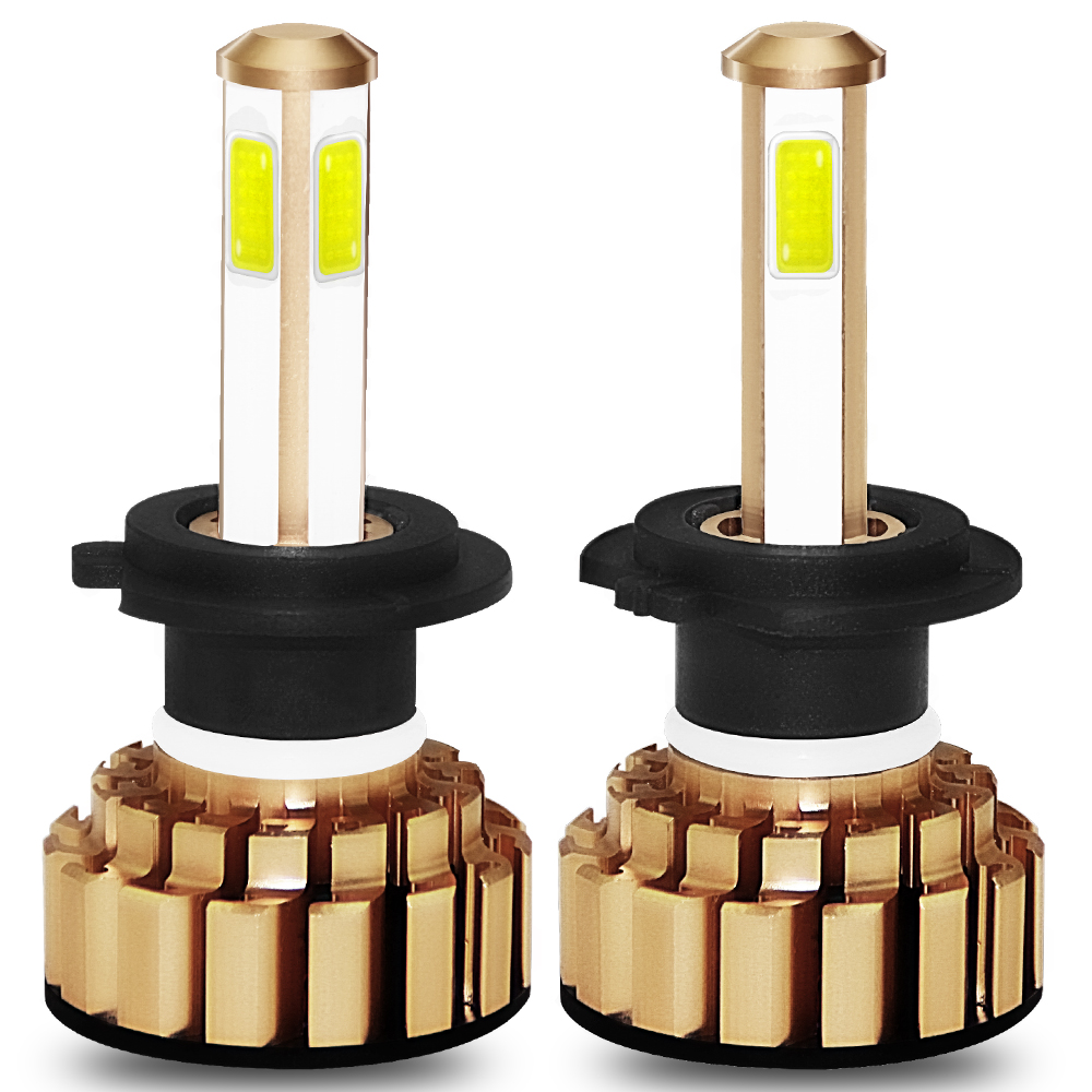 2 x G7 H7 LED Headlight 4 Side Kit White COB Lamp Bulbs 200W 20000LM 6000K 9-36V