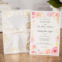 Transparent Multicolor Gold Stamping Plant Pattern Wedding Invitations Cards with Floral Hoop Inserts Laser Cut Cards 50pcs/lot cape massage главдор ag16029 with деревяннными inserts with brown mesh pattern 55180