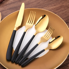 5 PCS Black Gold Cutlery Set 18/10 Stainless Steel Western Food Tableware Sets Fork Steak Knife Dinnerware
