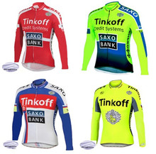 a7885f2d0 Pro Team Tinkoff saxo bank Winter Thermal Fleece warm Cycling Clothing 2018 Ropa  Ciclismo Long Sleeve
