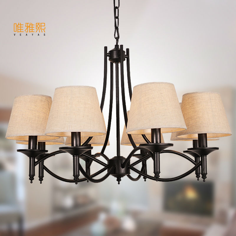 Veayas Black Art Deco Modern Iron Shade Chandeliers Fixtures E14 110v 220v Cottage chandeliers for dining room living room bedro